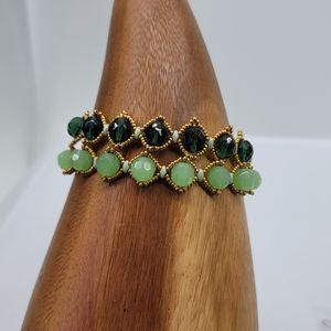 Hand Beaded Earring And Bracelet set